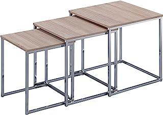 Esidra 9332 – 03 3 桌,镀铬钢,米色,40 x 40 x 42厘米