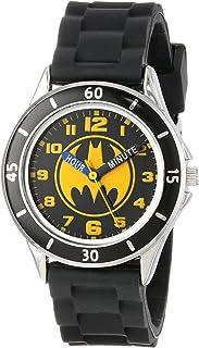 Batman 儿童模拟手表银色外壳,黑色边框,黑色表带 - 表盘上印有官方黄色/黑色蝙蝠侠标志,Time-Teacher 手表,儿童* - 型号:BAT9152