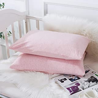 Household *棉针织幼儿枕套,柔软透气旅行枕套带信封封口,适合男孩和女孩,33.02 厘米 x 45.72 厘米 2 件装(粉色)