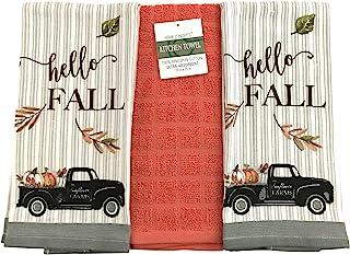 Serafina Home Farmhouse 秋季装饰厨房洗碗巾套装:两 (2) 印花毛巾,带复古黑色农业卡车(Hello Fall Velour)