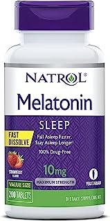 Natrol 褪黑素,快速溶解片,帮助更快入睡,睡觉时间更长,易于服用,在口中溶解,吸收更快,大强度,草莓味,10毫克,200粒