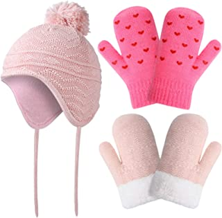 3 件套幼儿无檐小便帽和连指手套婴儿冬季帽和婴儿手套针织幼儿儿童毛球帽带耳罩婴儿冬季手套适合6-18个月男孩