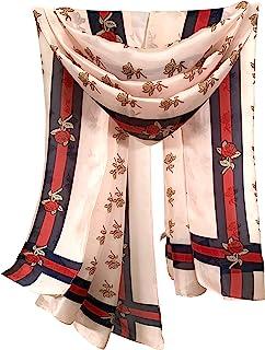 丝绸围巾花卉长款轻质女式时尚围巾,适合任何场合或季节