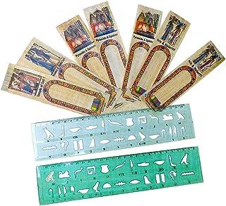 10 埃及法老纸莎白书签空白书签书签书签 + 2 个塑料模板尺子写你的名字 Papyri 象形文字 字母表 历史 教学 套装 艺术剪贴簿