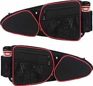 RZR 侧门袋 带可拆卸护膝 UTV 前门侧储物袋 2 件装 兼容 2014-2020 Polaris RZR XP Turbo S 1000 S900