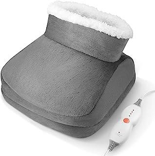 *保暖靴加热垫 Rieleve **和酸痛 超软快速加热 4 种温度设置,自动关闭,均码,适合大多数人,在办公桌下或沙发上使用,可机洗