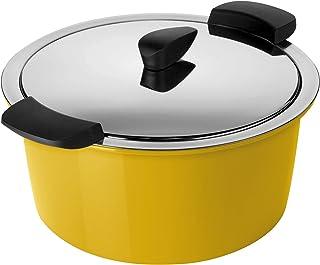 KUHN RIKON 30684 保温炊具HOTPAN 带盖烹饪锅,黄色,1升,14厘米,蒸汽烹饪,保温,电磁炉适用,洗碗机适用,不锈钢
