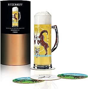 RITZENHOFF 丝绸啤酒杯 0.5 升 由 Jens Rotzsche 由水晶玻璃制成,500 毫升,带 5 个啤酒盖