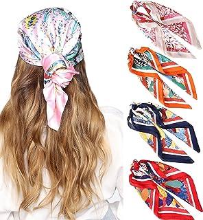 27 英寸(约 68.9 厘米)丝绸触感方形头巾 - 4 件缎面头巾 适合女士发巾 头巾 睡巾 颈巾 (红色 + 橙色 + *蓝 + 驼色)