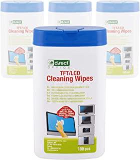 D.RECT 清洁湿巾,用于TFT / LCD 显示器笔记本电脑,平板电脑100件套装,4个包装