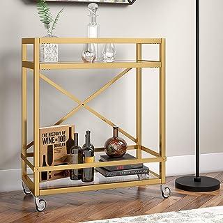 Henn&Hart 黄铜饰面透明玻璃架子推车,76.2 厘米,金色
