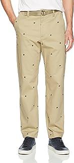 Perry Ellis 男式时尚修身刺绣斜纹棉布裤