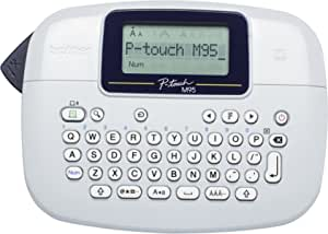 brother 兄弟 PT-M95 标签机,P-Touch 标签打印机,手持,QWERTY 键盘,高达 12 毫米标签,包括 12 毫米白黑色磁带盒