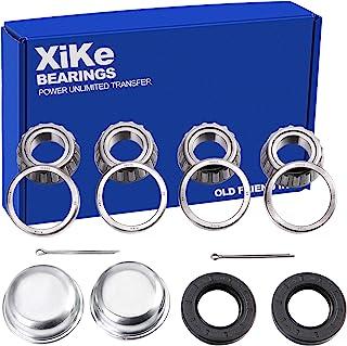 XiKe 2 件套适合 25 毫米轴拖车轮毂轴承套件,30205 轴承和密封 TC 30x52x10 毫米,旋转安静高速耐用,包括防尘盖和垫圈销。