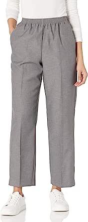 Alfred Dunner 女式全弹力腰部涤纶小裤涤纶比例中号 灰色 12 Petite
