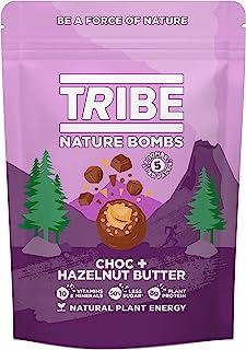 TRIBE 蛋白球 - 巧克力 + 榛子酱分享袋 - 素食,不含麸质和乳制品,天然蛋白炸弹(7 x 100 克)...