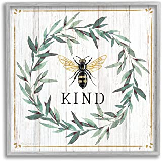 Stupell Industries Bee Kind Phrase Country Farm Insect Pun,由 Elizabeth Tyndall Gray 带框墙画,45.78 x 45.78 厘米,米白色