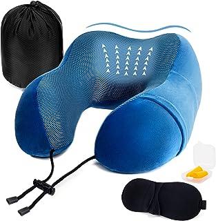 Golden Scute 旅行枕,舒适支撑飞机颈枕,* *泡沫旅行颈枕,带*面罩,耳塞和储物袋,适用于飞机、汽车、*休息(皇家蓝)