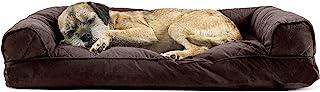 Furhaven 宠物狗床 – 绗缝枕垫传统沙发风格客厅沙发宠物床带可拆卸枕套适用于狗和猫,咖啡,中号