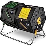 Miracle-Gro 大型双室堆肥杯 - 易转动,快速工作系统 - 适合季节,重型,大容量加垫,带 2 个滑动门…