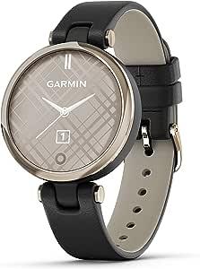 Garmin Lily,小型 GPS 智能手表,带触摸屏和图案镜片,浅金色,带黑色皮革表带