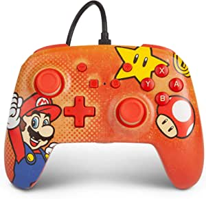 PowerA 增强型有线控制器 适用于 Nintendo Switch - Mario Vintage、Gamepad、有线视频游戏控制器、游戏控制器 - Nintendo Switch