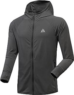 MOERDENG 男士 UPF 50+ *拉链封口连帽长袖凉爽衬衫带拇指孔和口袋,适合户外徒步钓鱼皮划艇高尔夫