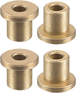 uxcell 法兰套筒轴承 4mm 孔径 8mm 外径 10mm 长 12mm 法兰直径 2mm 法兰厚度烧结青铜自润滑衬套 4 件