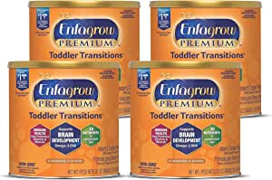 Mead Johnson 美赞臣 Enfagrow优质婴儿过渡幼儿奶粉,9-18个月,Omega 3 DHA,铁,20盎司/567g(4件)