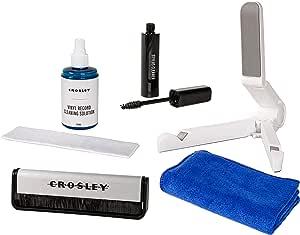 Crosley AC1024A 5 合 1 唱片清潔套件,帶碳纖維刷、超細纖維布、手寫筆、清潔液和唱片架