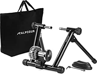 Alpcour Fluid 自行车训练器支架 - 便携式不锈钢室内训练器,带液体飞轮、降噪、渐进式阻力、双锁定系统 - 适用于公路和山地自行车的固定式锻炼