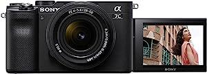 索尼 Alpha 7C 无反光镜 e-安装全画幅数码相机 ILCE-7C(24.2 MP、7.5 厘米(3 英寸)触摸显示屏、实时自动对焦、5 轴图像稳定功能)SEL-2860 镜头-黑色