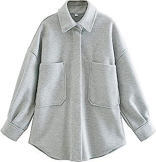 Qiaomai 女式休闲羊毛混纺翻领按扣口袋中长款纯色门襟外套