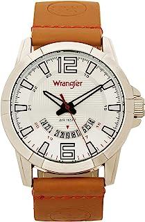 Wrangler 威格 男式手表 45mm 带图案表盘和日期功能 聚氨酯表带