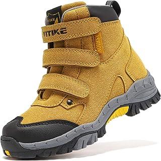 儿童徒步靴男孩女孩户外散步攀岩运动鞋舒适防滑雪地鞋登山靴防滑钢扣鞋底