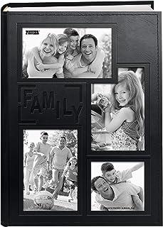 Pioneer 拼贴框架压花家庭缝人造革封面 300 个口袋照片相册,黑色