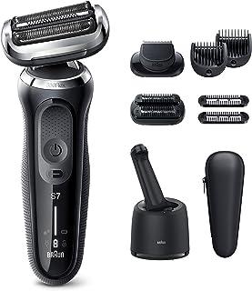 BRAUN 博朗 男士系列7 电动剃须刀,7085cc 360头电动剃须刀,带胡须修剪器,可充电,干湿两用,四合一智能控制中心和旅行箱