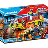 PLAYMOBIL 摩比世界 City Action 70557 消防队行动,附带消防车,包括 灯光和声音效果,适合4至…
