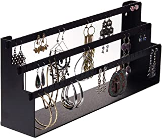 Angelynn 耳钉收纳架展示壁挂式衣柜珠宝收纳架,Luka 黑色 Daelyn 6x14.5x3 Wall, Shelf, Table Top DAELYN-BLK