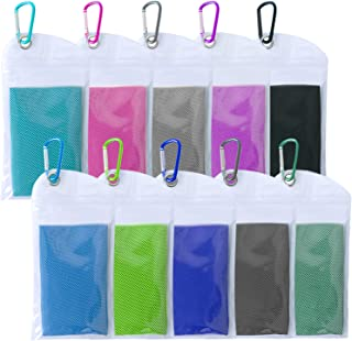 TowelTouch 冷却毛巾即时冷却(40 英寸 x 12 英寸,约 101.6 厘米 x 30.5 厘米),用作冷却围巾头带腕带,露营瑜伽旅行攀岩高尔夫网球 10 件