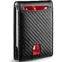 Qisebin 极简主义超薄男士钱包带钱夹 RFID 屏蔽前口袋皮革男士钱包(黑色)
