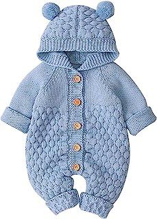Camidy 婴幼儿男孩女孩针织连帽衫熊耳朵连帽连体衣连体衣