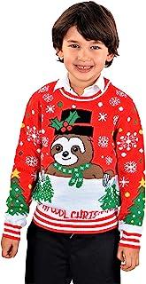 SoCal Look 男童丑陋圣诞毛衣树懒酷炫套头衫红色