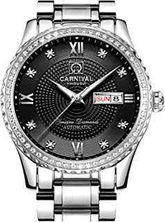 CARNIVAL 男士表盘自动全金不锈钢蓝宝石玻璃防水男士黑色手表