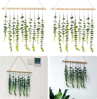 一套 20 件仿真桉树藤蔓 + 2 根 16 英寸(约 40.6 厘米)木棒,波西米亚天然墙壁悬挂桉树绿植物,适用于卧室客厅家居墙壁装饰