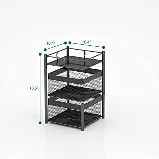 旋转多层厨房储物架,Xinyourui 水果蔬菜储物篮,落地滚动垂直货架,卧室多功能家用货架,浴室(黑色,2 层正方形)