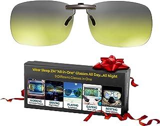 夹式一体式蓝光屏蔽眼镜 + 变色太阳镜 + 偏光驾驶眼镜 + 偏*眼镜 - 女士和男士看到更好的白天和夜晚 - 更好的* - 阻止**和*