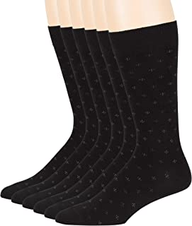 7BigStar 男式正装短袜 棉 6 双装 XL-L-薄款 高大款 棕色 米色 蓝色 黑色 灰色 棕褐色 酒红色 炭色 圆领 休闲 Dotted, Black (Pt01) Shoe Size: 6-12