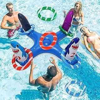 eboozone 充气泳池环投掷游戏玩具,泳池游戏玩具带 6 个环环,适合儿童和成人的泳池浮动玩具(蓝鲨鱼)