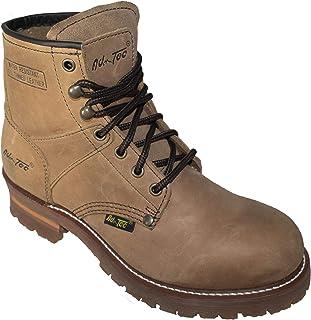 Ad Tec 女式 9 英寸(约 22.9 厘米)Super Logger 平头软鞋头工作靴,经久耐用疯马皮革,鞋跟舒适休闲轻便户外女靴